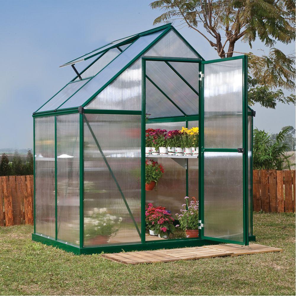 Serre polycarbonate Mythos 2.30 m² vert + embase - Palram