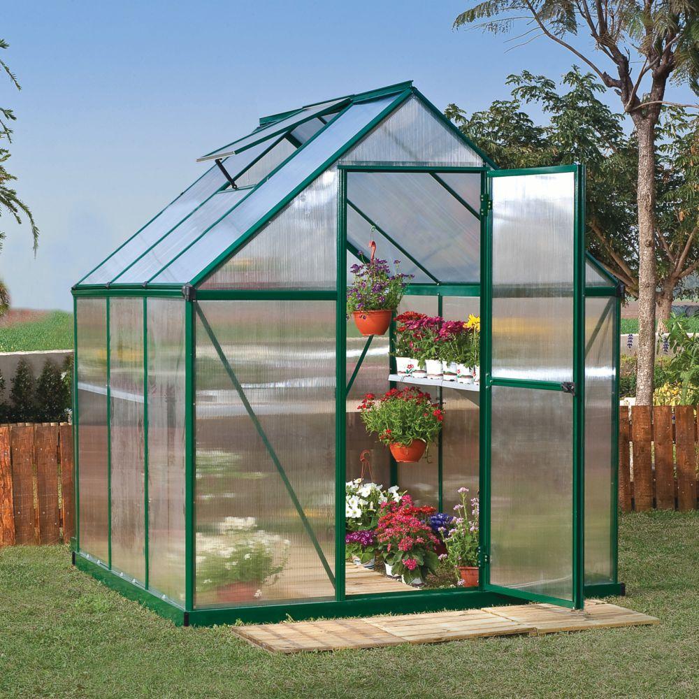 Serre polycarbonate Mythos 3.40 m² vert + embase - Palram