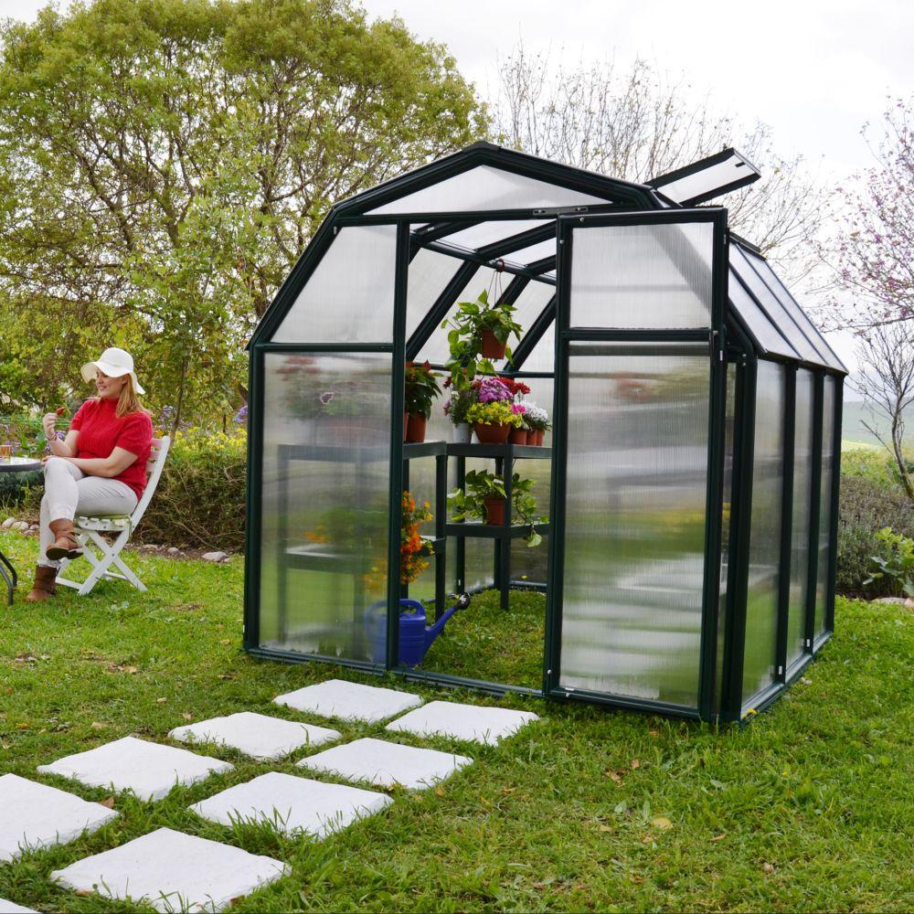 Serre polycarbonate Eco Grow 3,90 m² vert + embase - Palram