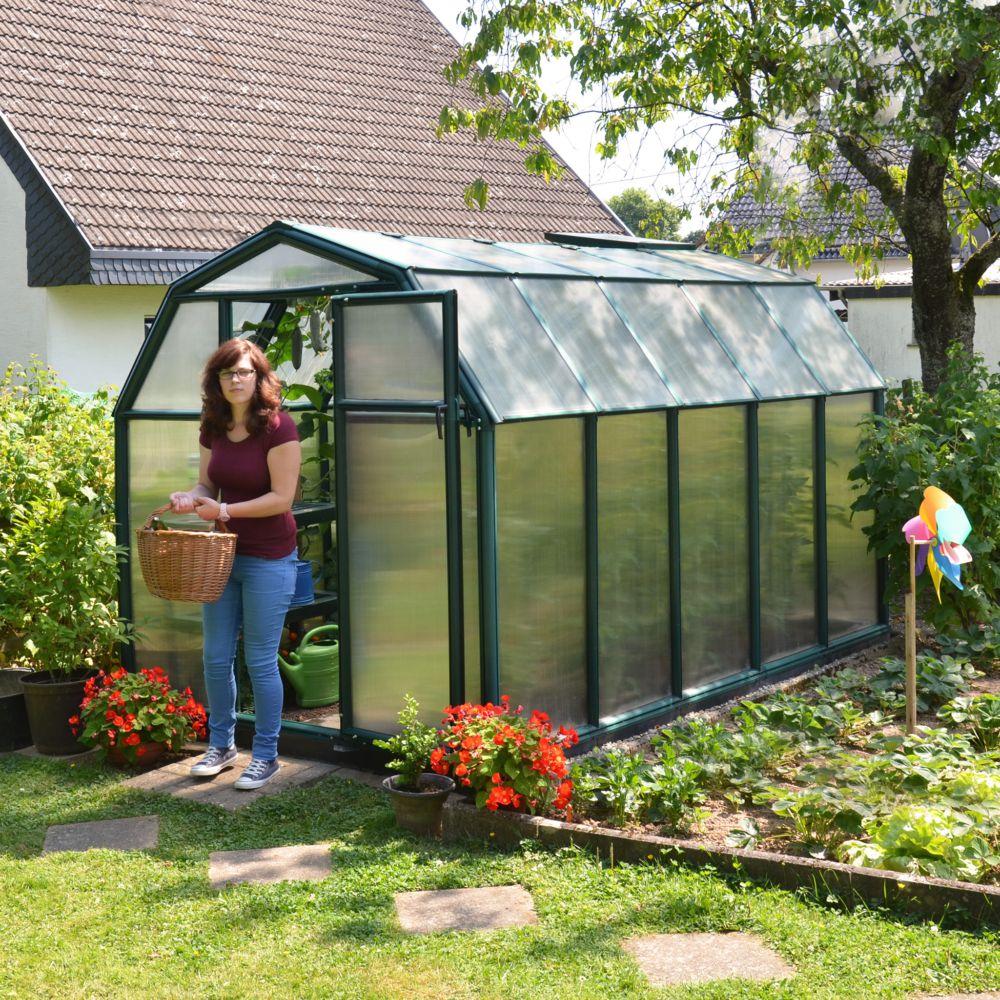 Serre de jardin - Serre polycarbonate Eco Grow 6.30 m² vert + embase - Palram - Serre de jardin GammVert