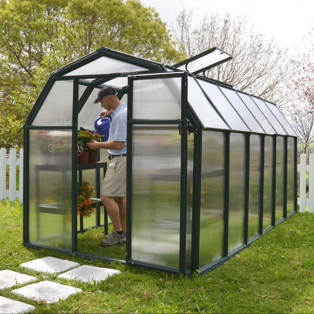 Serre de jardin - Serre polycarbonate Eco Grow 7.60 m² vert + embase - Palram - Serre de jardin GammVert