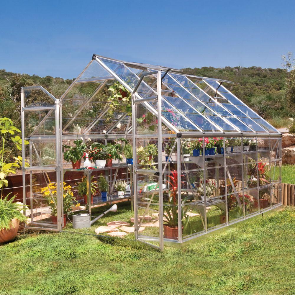 Serre de jardin - Serre polycarbonate Octave 8.90 m² + embase - Palram - Serre de jardin GammVert