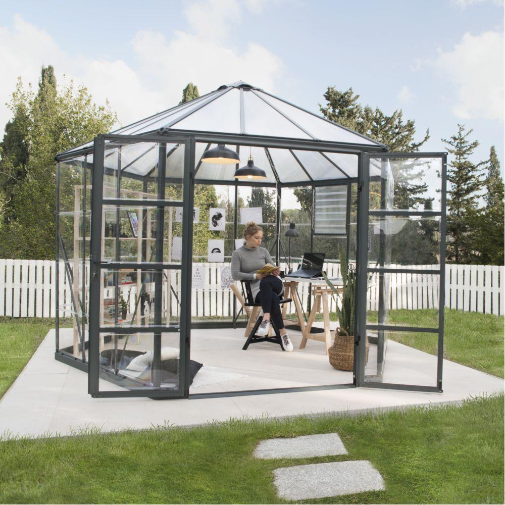 Serre polycarbonate hexagonale Oasis gris 8.60 m² - Palram