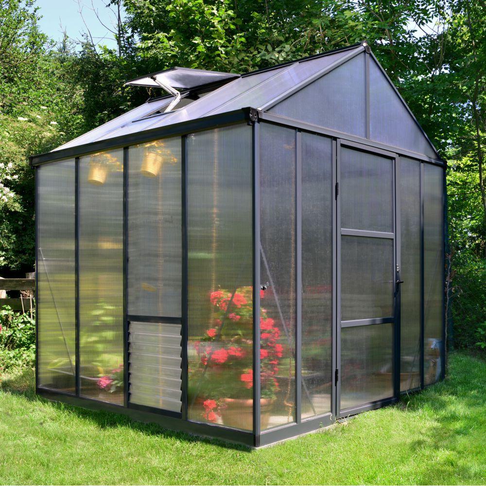 Serre de jardin - Serre polycarbonate Glory gris anthracite 5.70 m² - Palram - Serre de jardin GammVert