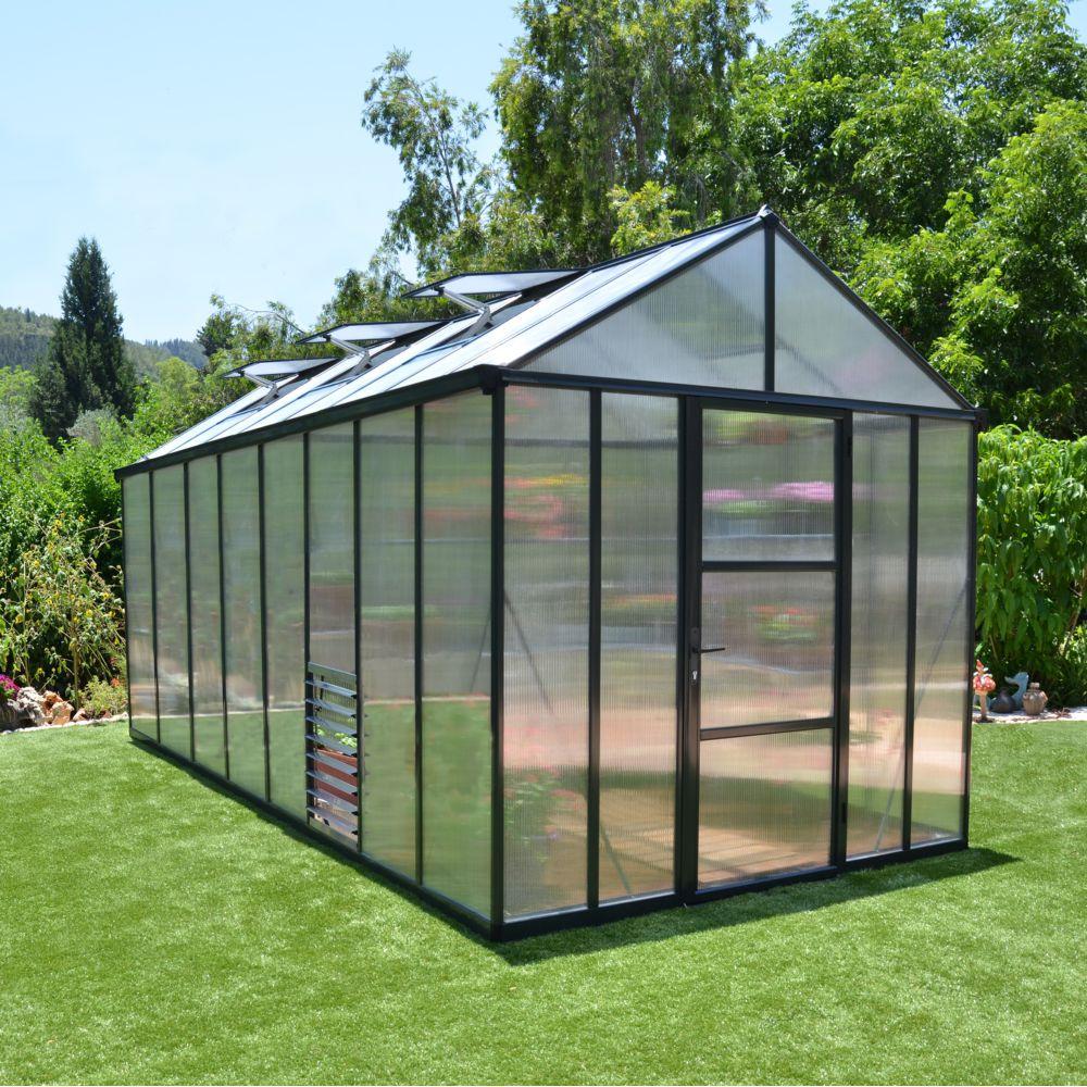 Serre de jardin - Serre polycarbonate Glory gris anthracite 11.40 m² - Palram - Serre de jardin GammVert