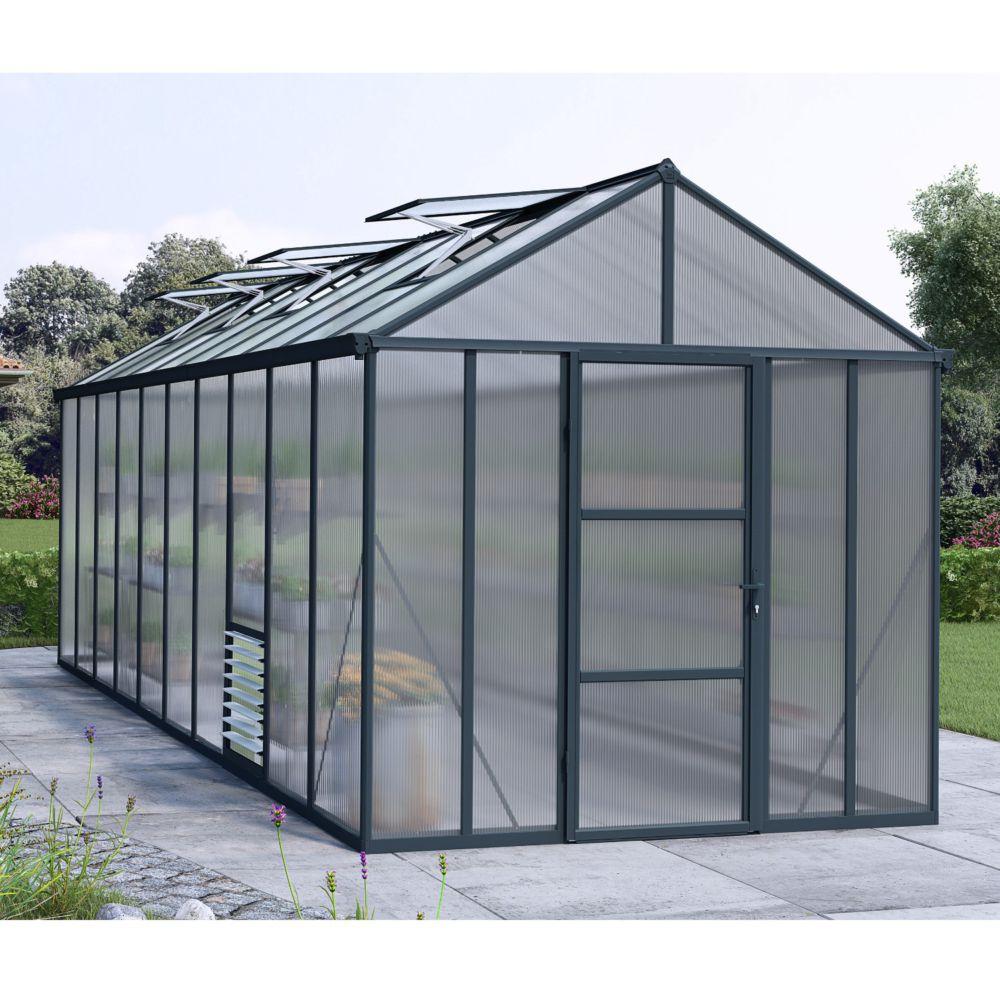 Serre de jardin - Serre polycarbonate Glory gris anthracite 14.20 m² - Palram - Serre de jardin GammVert