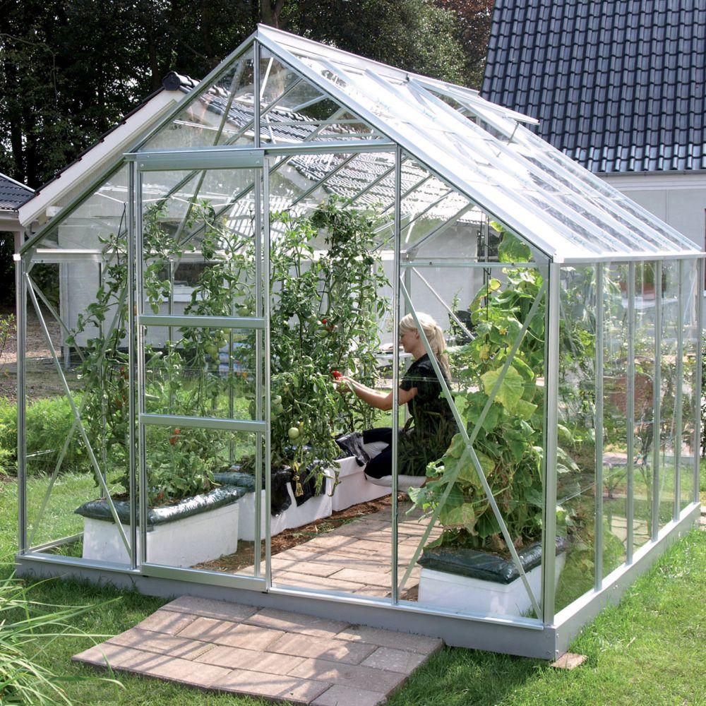 Serre en verre trempé Carvi 8.25 m² alu - Lams