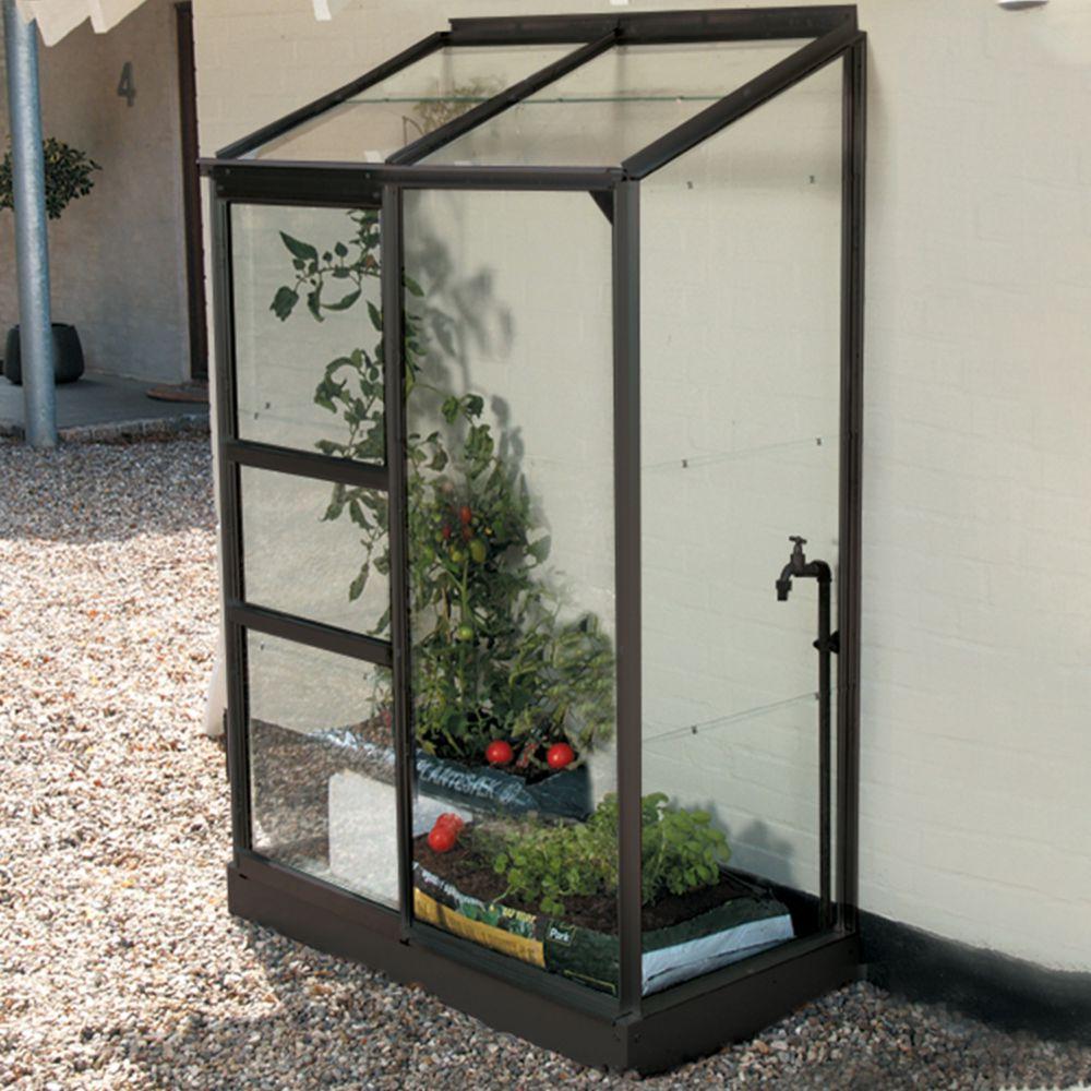 Serre adossée en verre trempé Melissa 0.90 m² anthracite - Lams