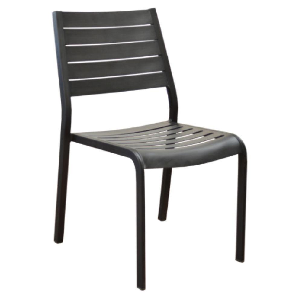 Chaise de jardin aluminium finition epoxy Flower - brun