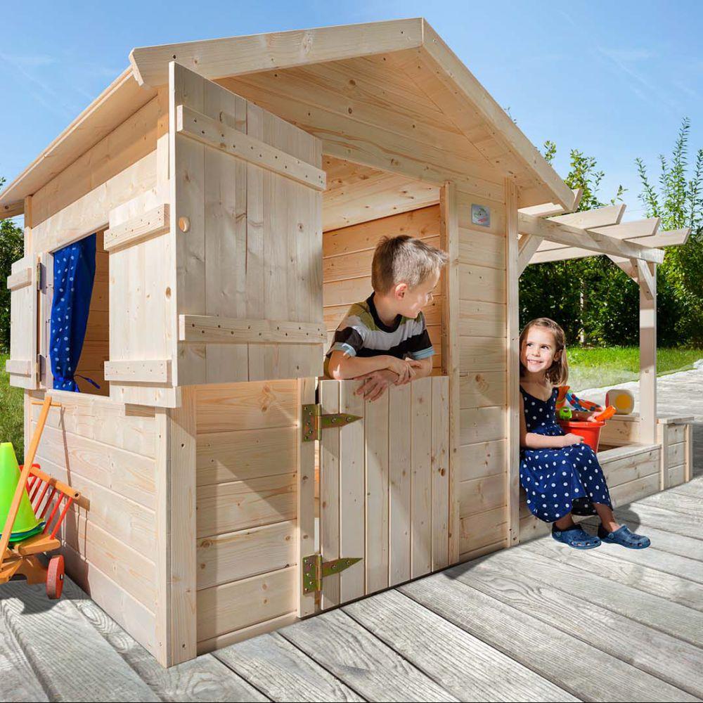 Cabane de jardin bois avec pergola et bac à sable - Tabaluga