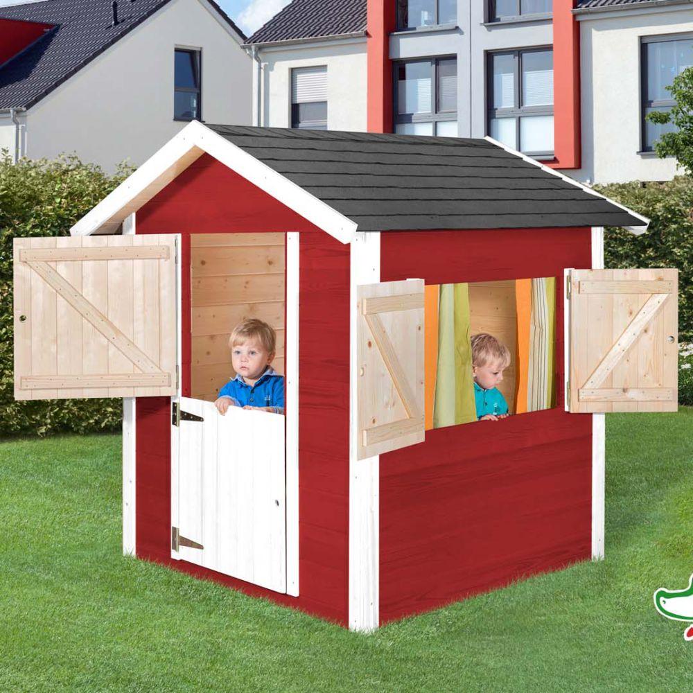 Maisonnette enfant bois rouge/blanc - Tabaluga 818