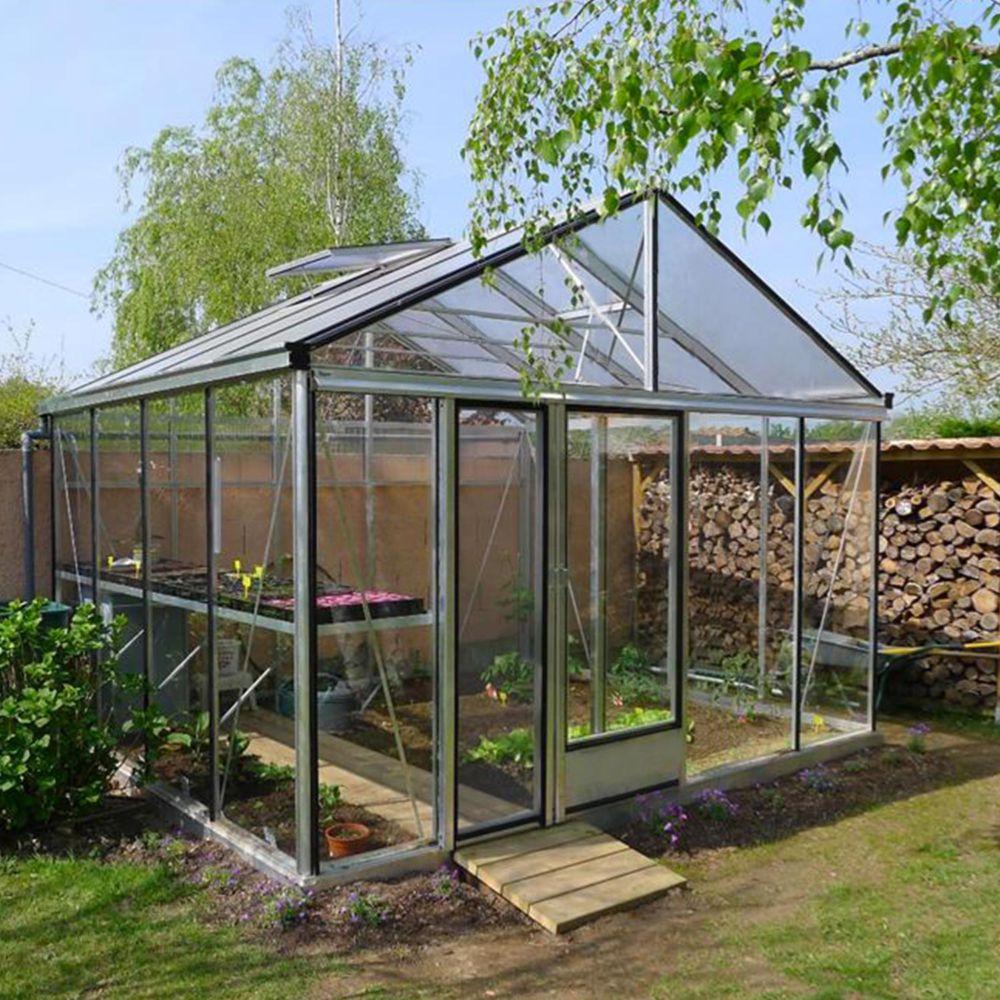 Serre en verre trempé Supra alu 17,40 m² - Lams