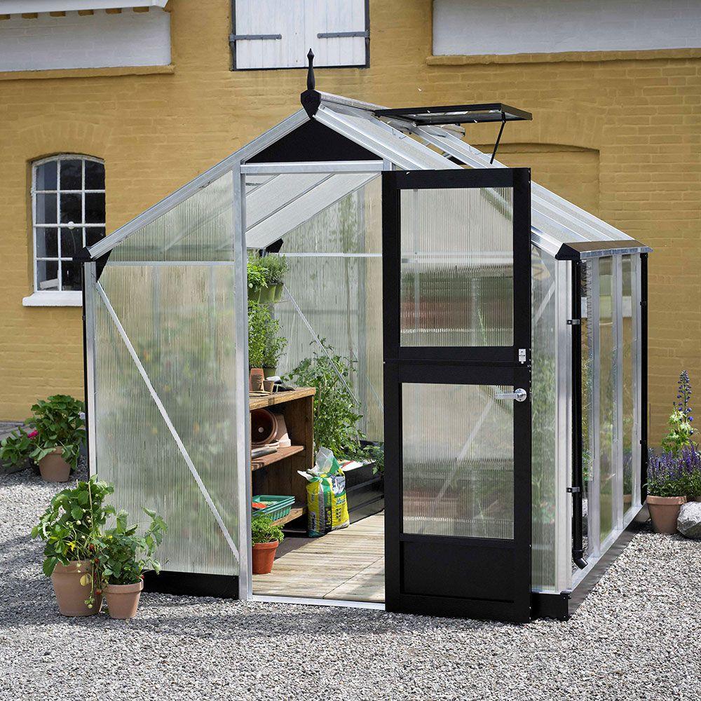 Serre de jardin - Serre polycarbonate Compact alu et anthracite 5 m² + embase - Juliana - Serre de jardin GammVert