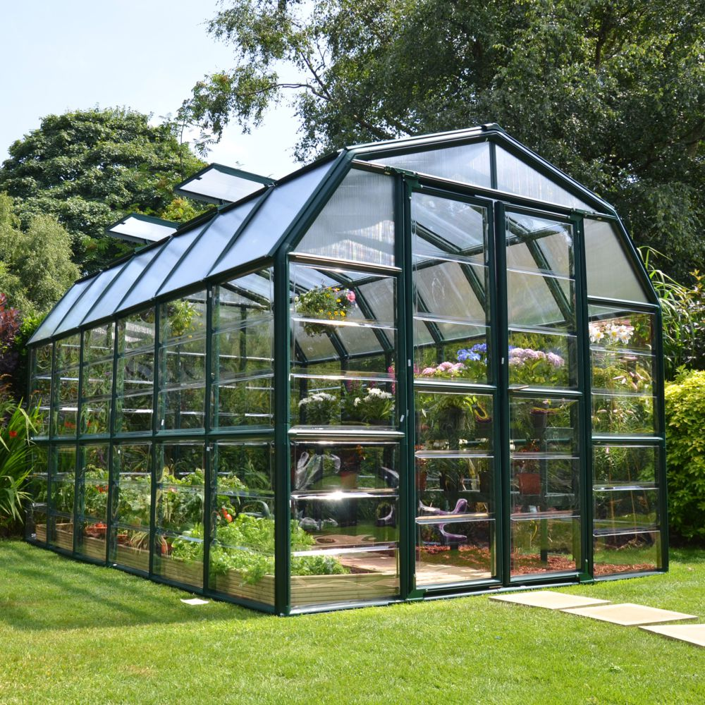 Serre de jardin - Serre polycarbonate Grand Gardener vert 10 m² + embase - Palram - Serre de jardin GammVert