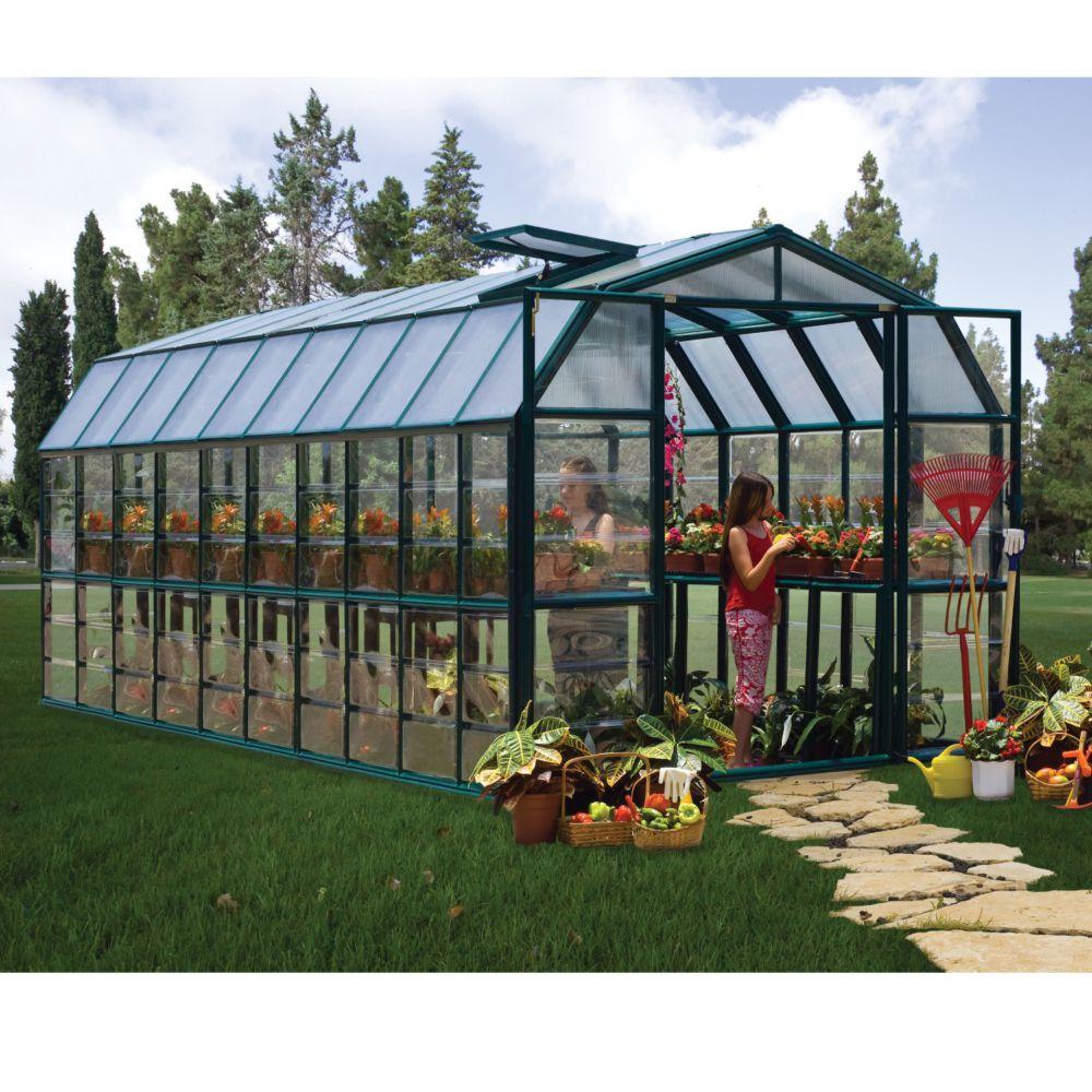 Serre de jardin - Serre polycarbonate Grand Gardener vert 16,5 m² + embase - Palram - Serre de jardin GammVert