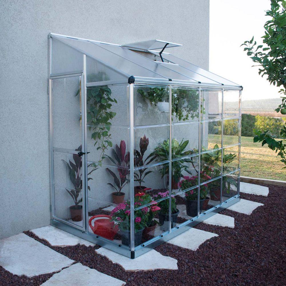 Serre polycarbonate adossée argent 2,90 m² - Palram