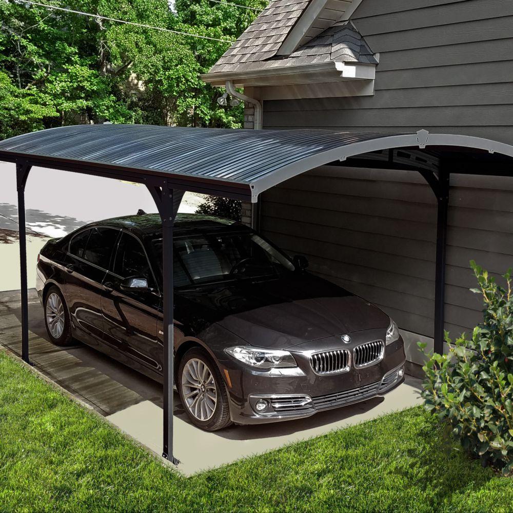 Serre de jardin - Carport aluminium toit polycarbonate Atlas : 1 voiture - 14,4 m² - Serre de jardin GammVert