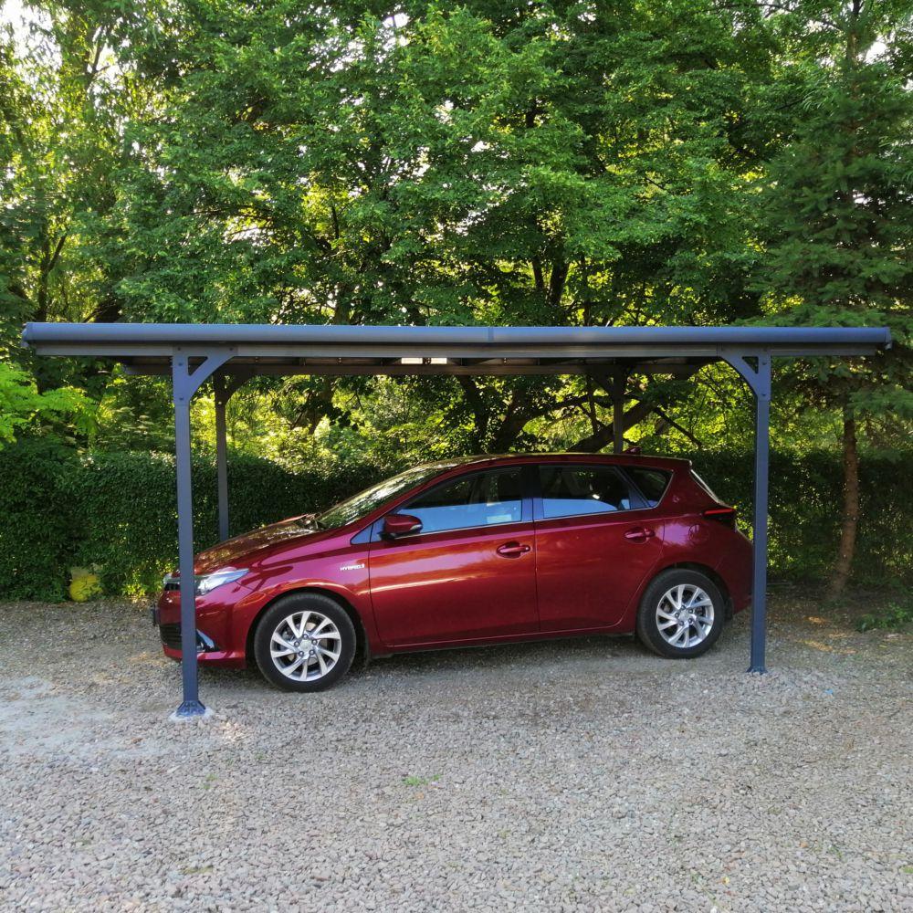 Serre de jardin - Carport aluminium toit plat et polycarbonate Verona : 1 voiture - 14,9 m² - Serre de jardin GammVert