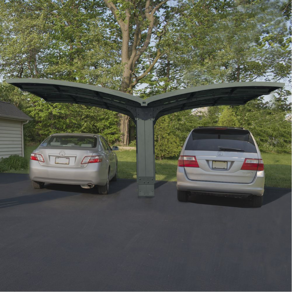 Carport aluminium toit polycarbonate Breeze : 2 voiture - 28,6 m²