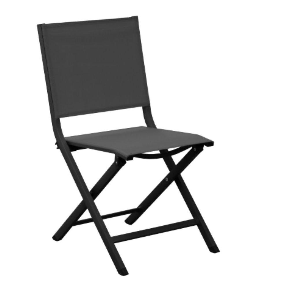 Chaise de jardin Pliante Thema aluminium et textilène graphite/gris