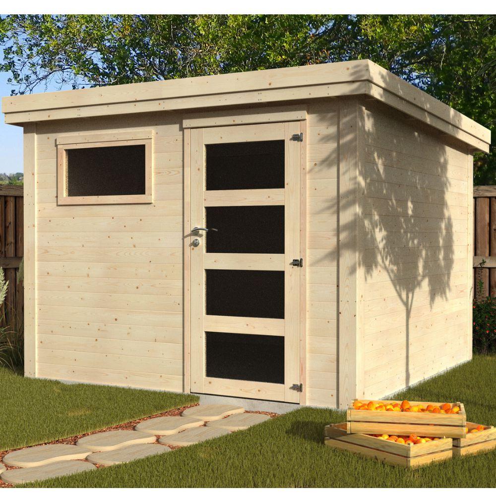 Abri de jardin bois toit plat 9 m² Ep. 28 mm Paco