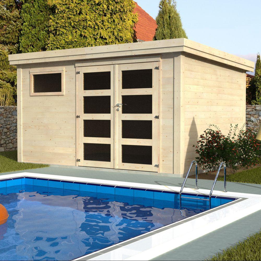 Abri de Jardin Bois Toit Plat 11,92 m² Paolo Ep. 28 mm