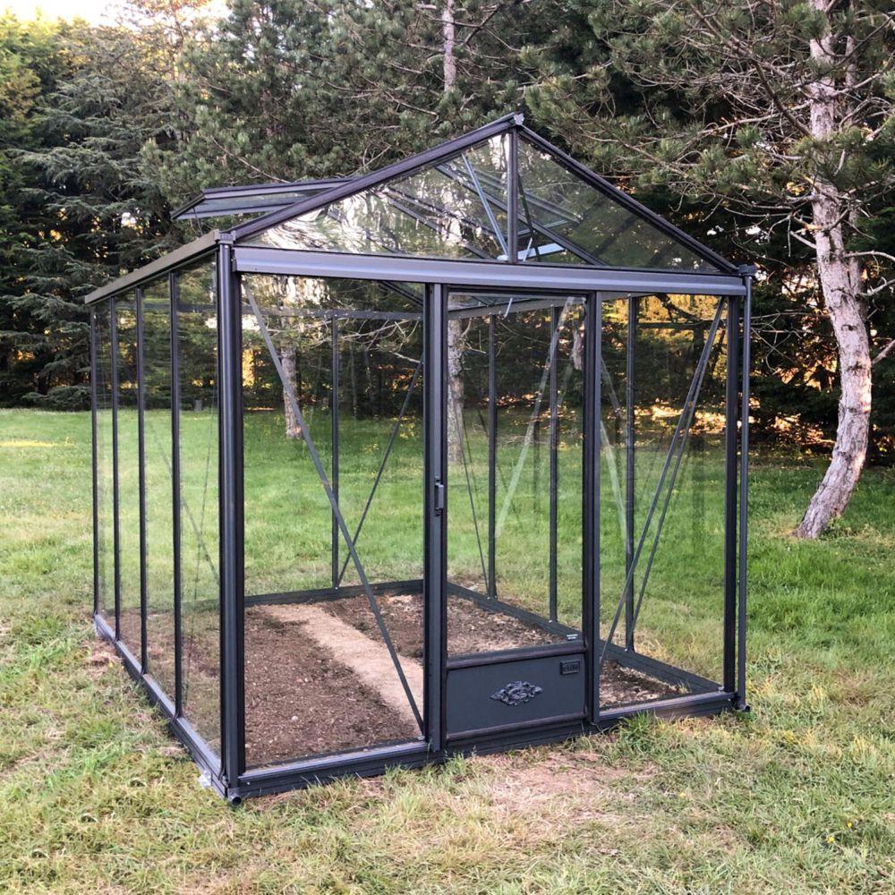 Serre de jardin - Serre en verre trempé Luxia laquée anthracite 7,30 m² - Lams - Serre de jardin GammVert