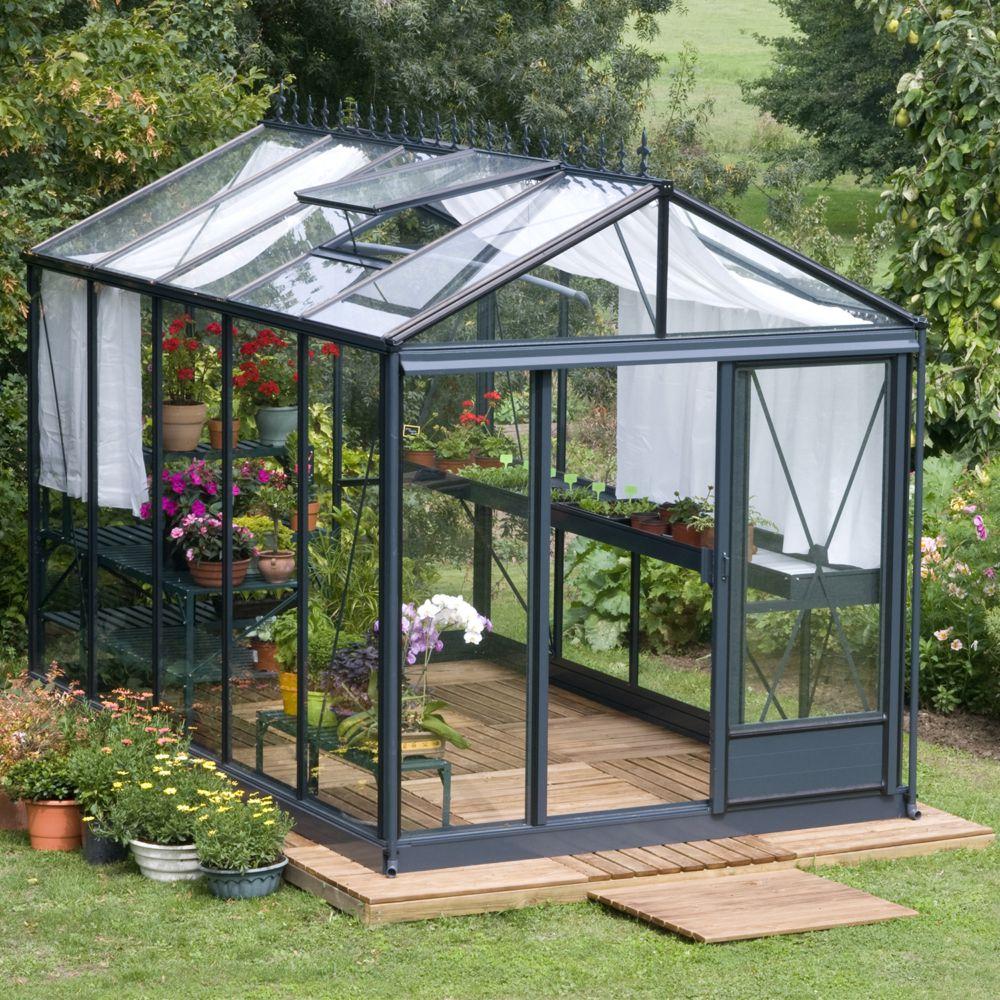 Serre de jardin - Serre en verre trempé Luxia laquée vert 10,80 m² - Lams - Serre de jardin GammVert