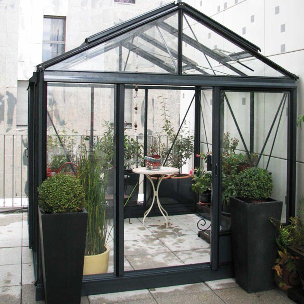 Serre de jardin - Serre en verre trempé Luxia laquée anthracite 9 m² - Lams - Serre de jardin GammVert