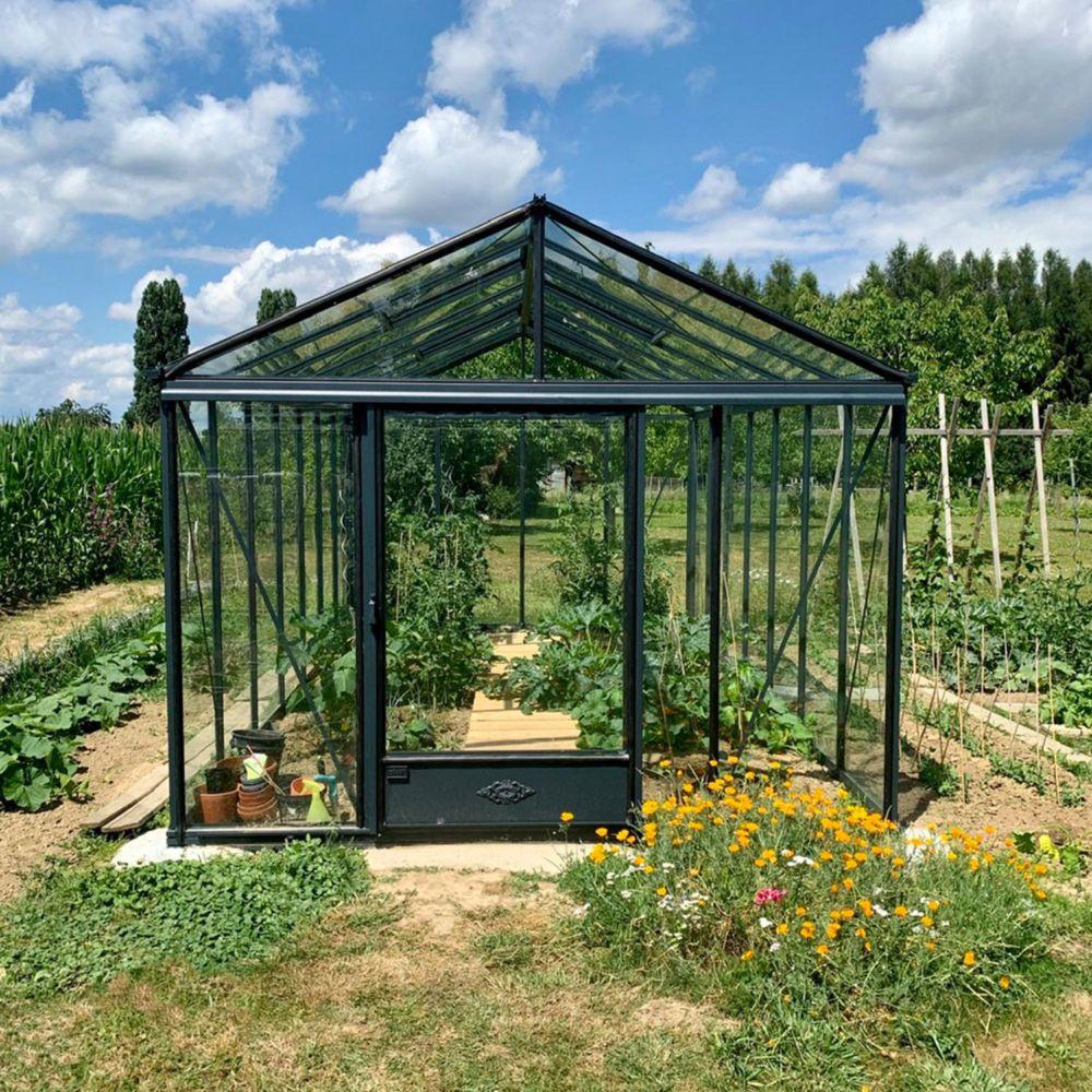 Serre de jardin - Serre en verre trempé Luxia laquée anthracite 12,50 m² - Lams - Serre de jardin GammVert