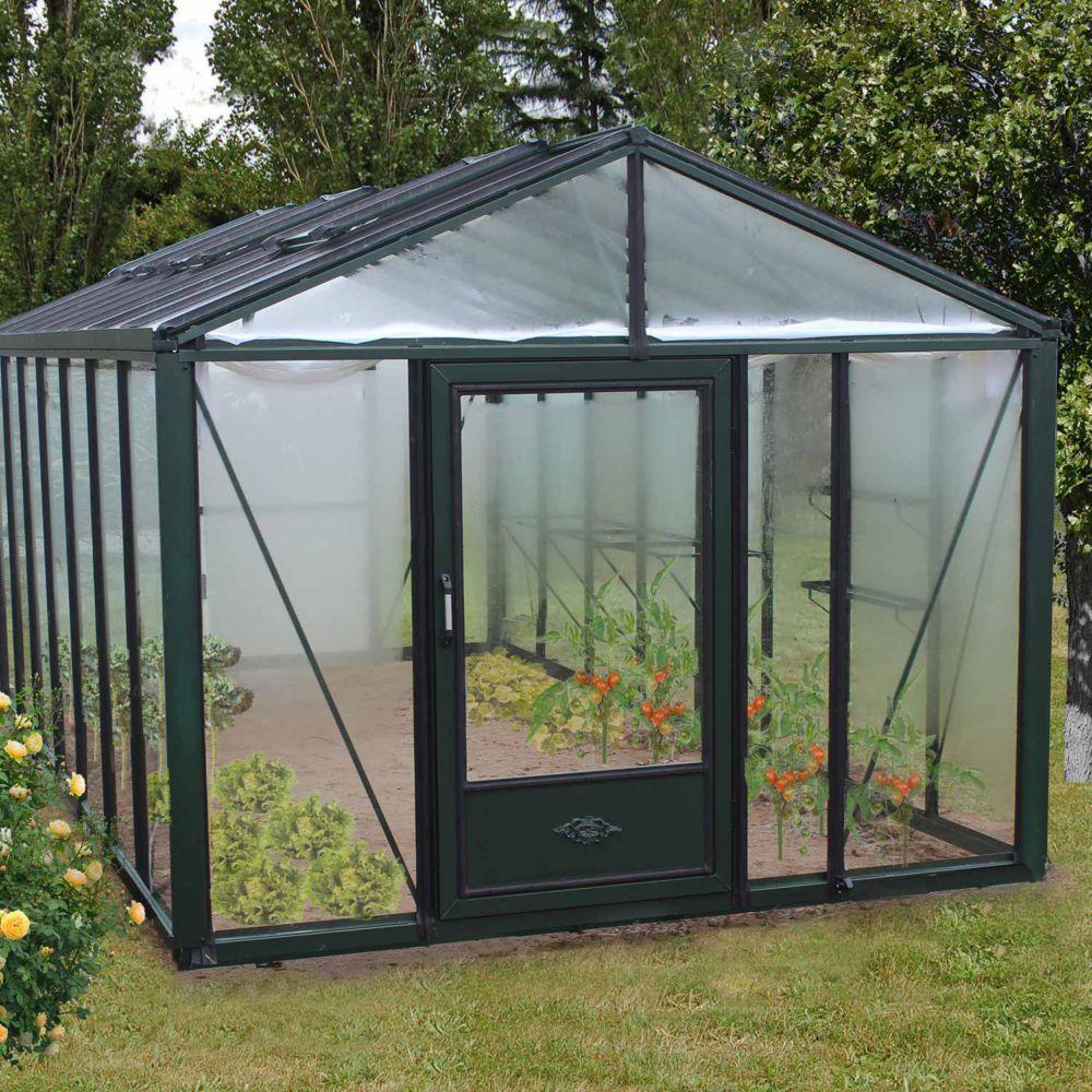 Serre de jardin - Serre en verre trempé Luxia laquée vert 11,75 m² - Lams - Serre de jardin GammVert