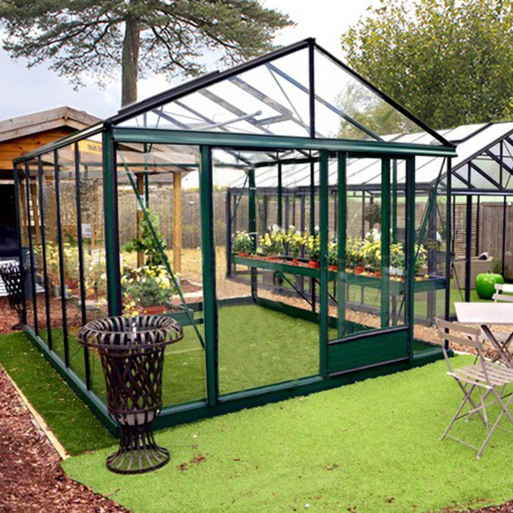 Serre de jardin - Serre en verre trempé Luxia laquée vert 14,10 m² - Lams - Serre de jardin GammVert