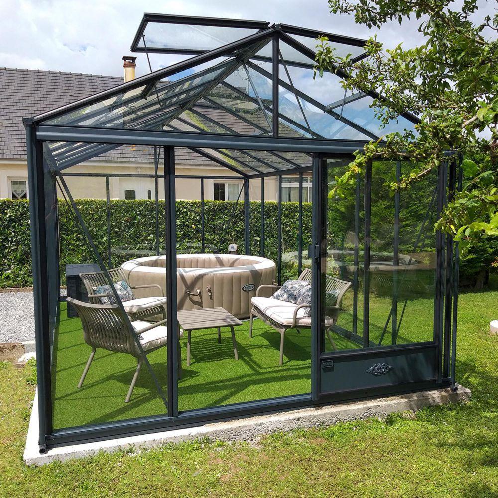 Serre de jardin - Serre en verre trempé Luxia anthracite 16,40 m² - Lams - Serre de jardin GammVert