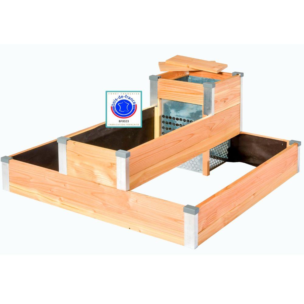 Carré potager en bois avec composteur Design Mon petit potager