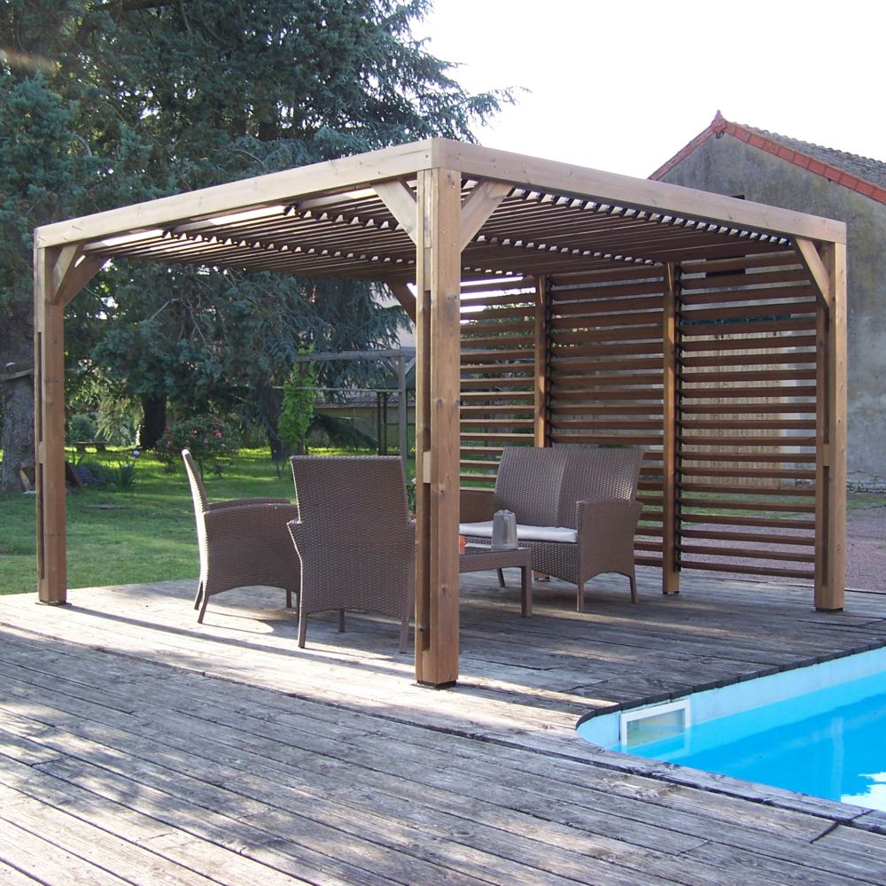 Serre de jardin - Pergola en bois traité très haute température 10,67m² - Habrita - Serre de jardin GammVert