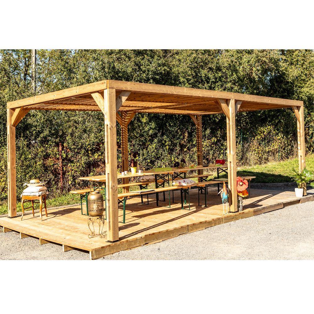 Serre de jardin - Pergola en bois traité très haute température 20,9m² - Habrita - Serre de jardin GammVert