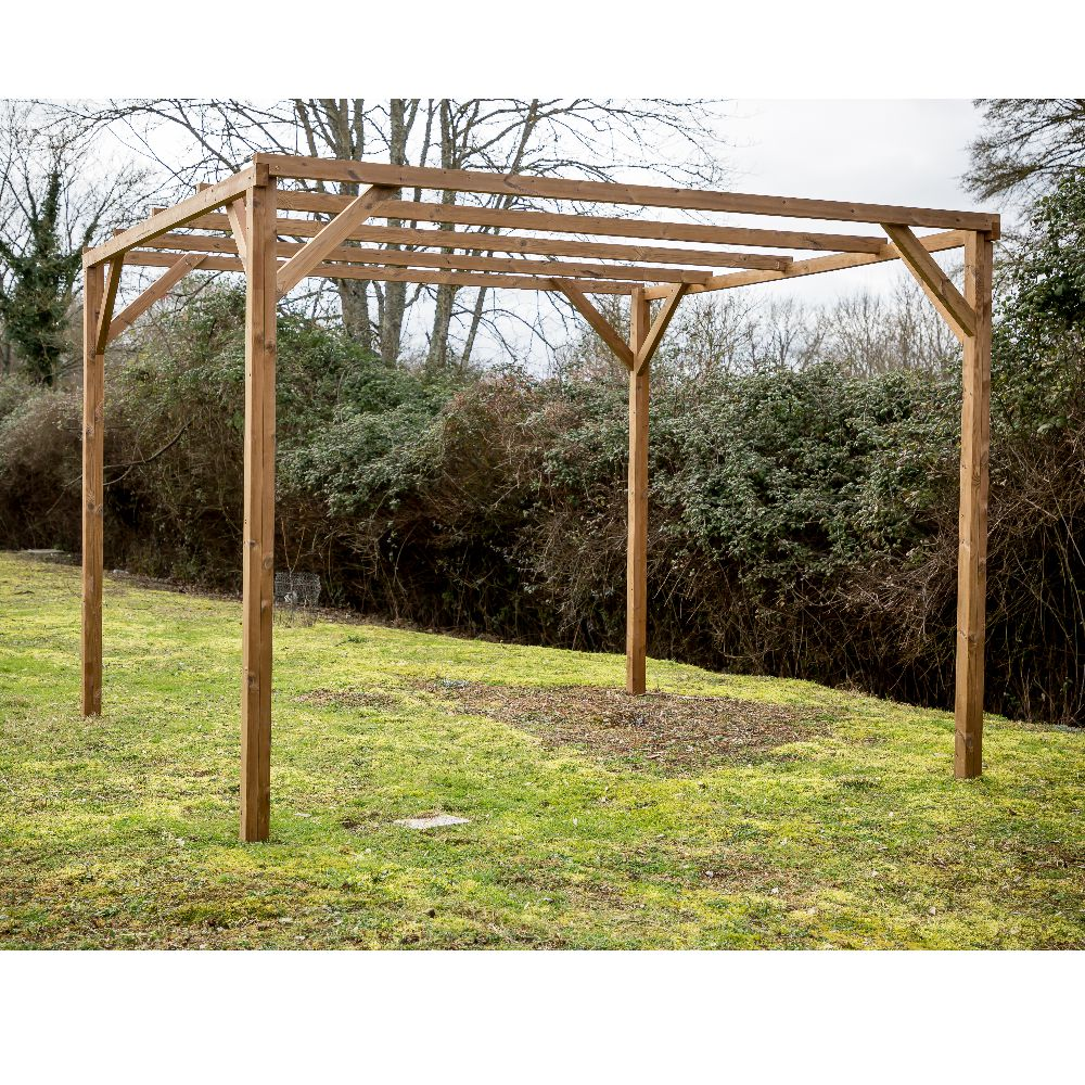 Serre de jardin - Pergola en bois traité très haute température 8,9m² - Habrita - Serre de jardin GammVert