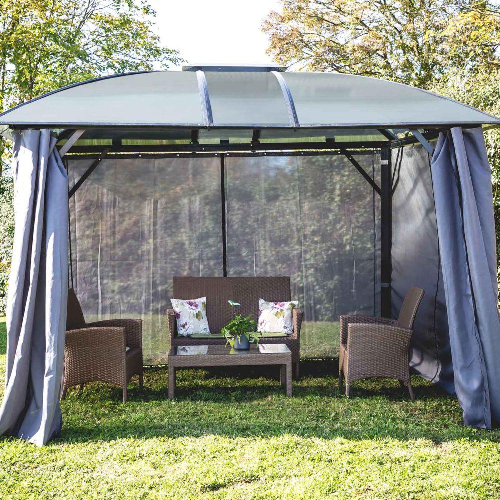 Serre de jardin - Gloriette ALUMINIUM toit 4 pentes coloris gris 10,80 m2 - Habrita - Serre de jardin GammVert