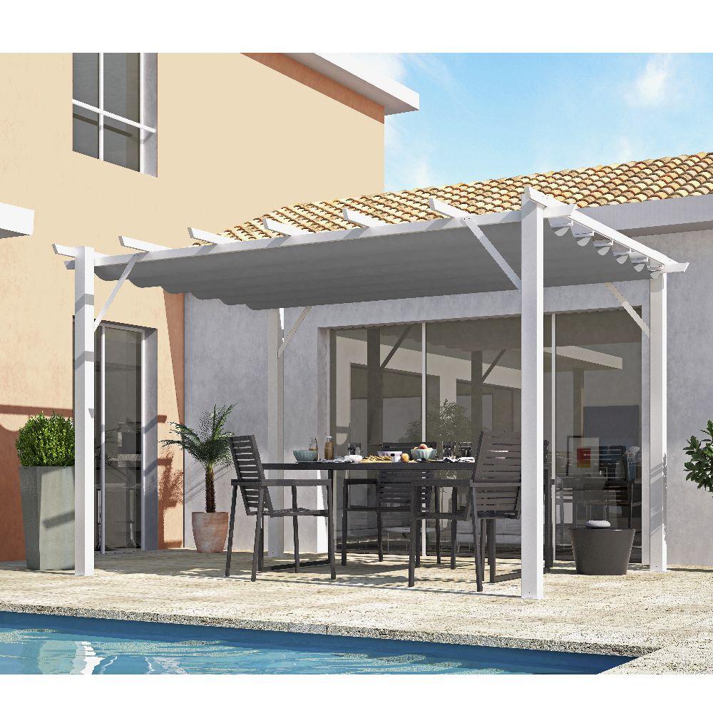 Serre de jardin - Pergola aluminium coloris blanc poteaux 100x100 mm 12 m2 - Habrita - Serre de jardin GammVert