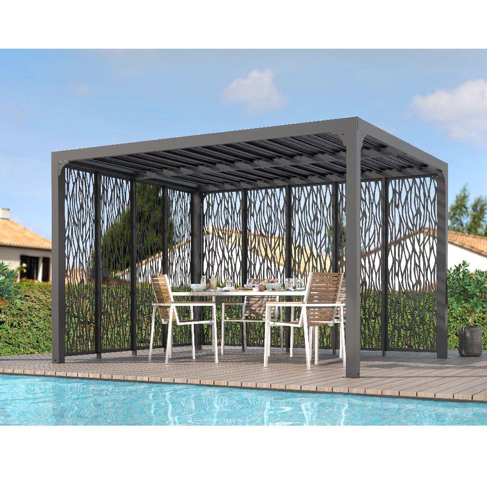 Serre de jardin - Pergola bioclimatique ALUMINIUM 10,80 m² - Habrita - Serre de jardin GammVert