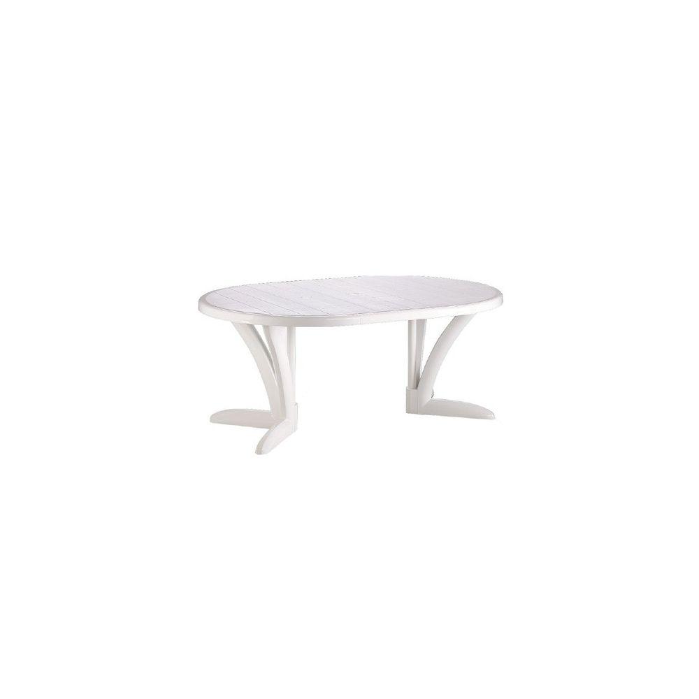 Table de jardin ovale \'Butterfly\' blanche