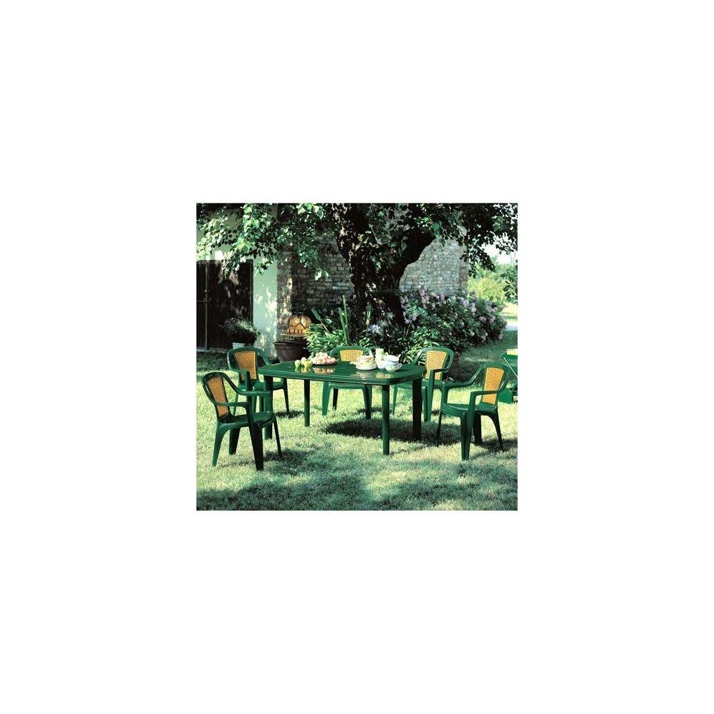 Salon de jardin \'Classique\' canné vert 6 fauteuils