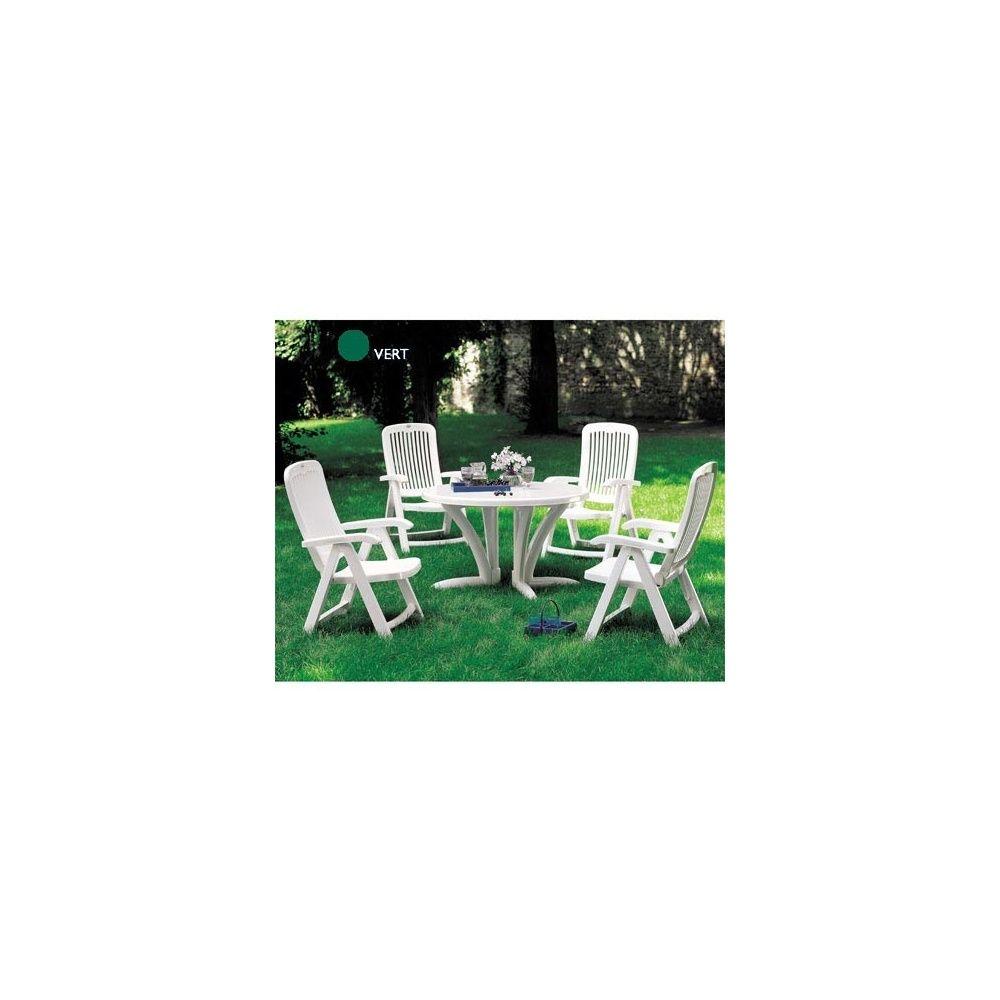 Salon de jardin \'Elegance\' vert 4 fauteuils (petit espace ...