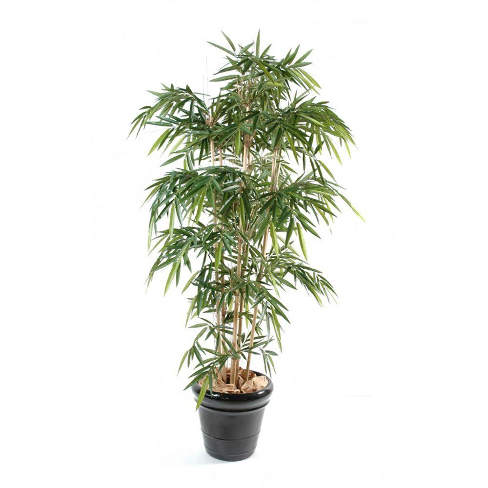 Bambou 7 chaumes H210 cm (chaumes naturels, feuillage artificiel) non rempoté
