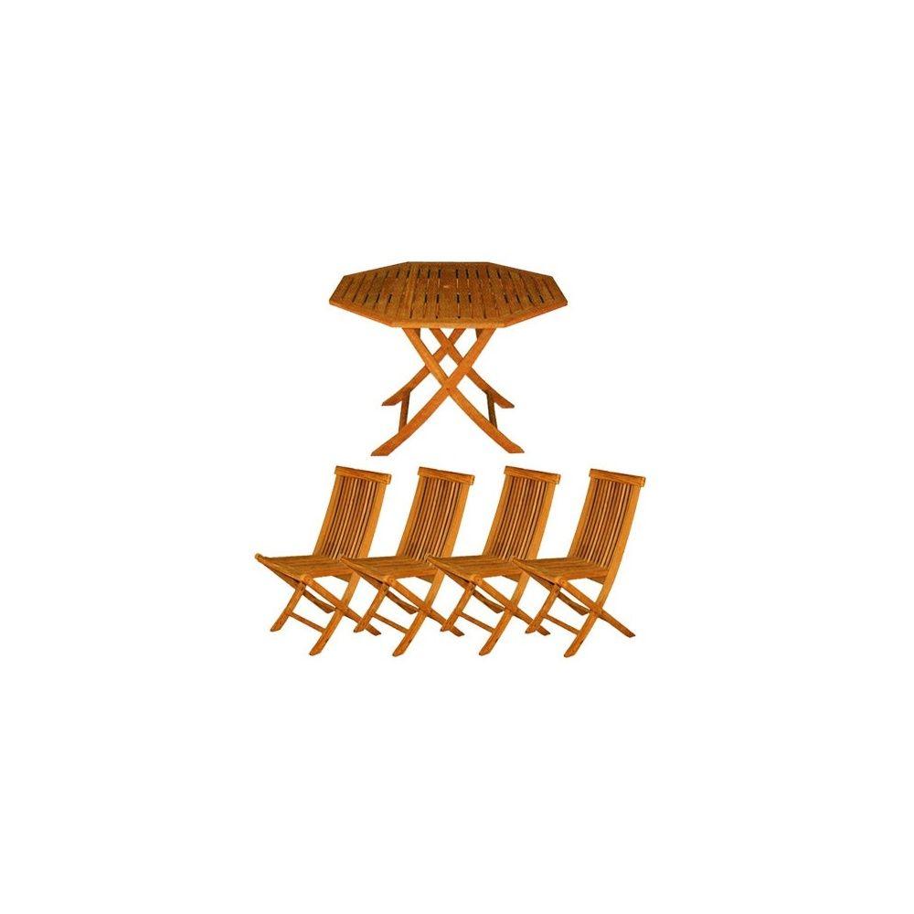 Salon table octogonale pliante + 4 chaises pliantes - Collection Mulia